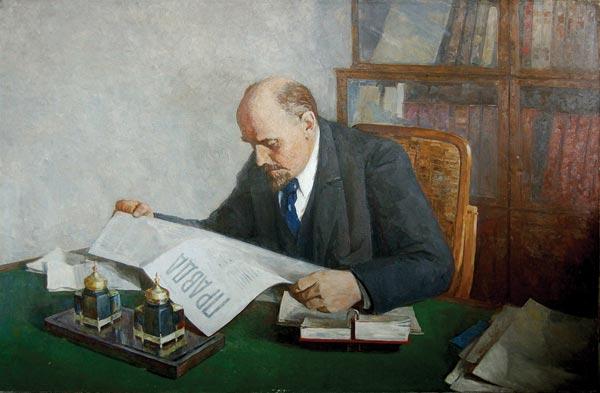 Ленин читает газету120х200