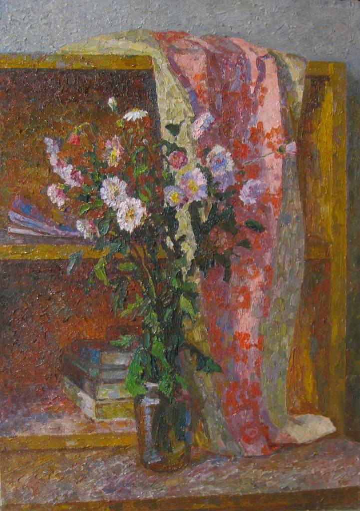 120-Цветы-на-книжной-полке-60х53